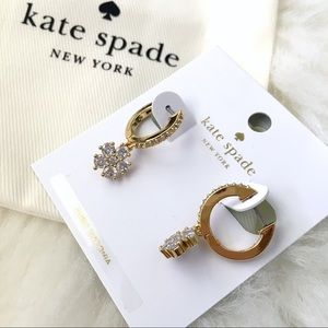 ♠️ Kate Spade Flower Drop Gold Huggies Earrings